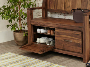 Orsina Solid Walnut Monks Bench with Shoe Storage