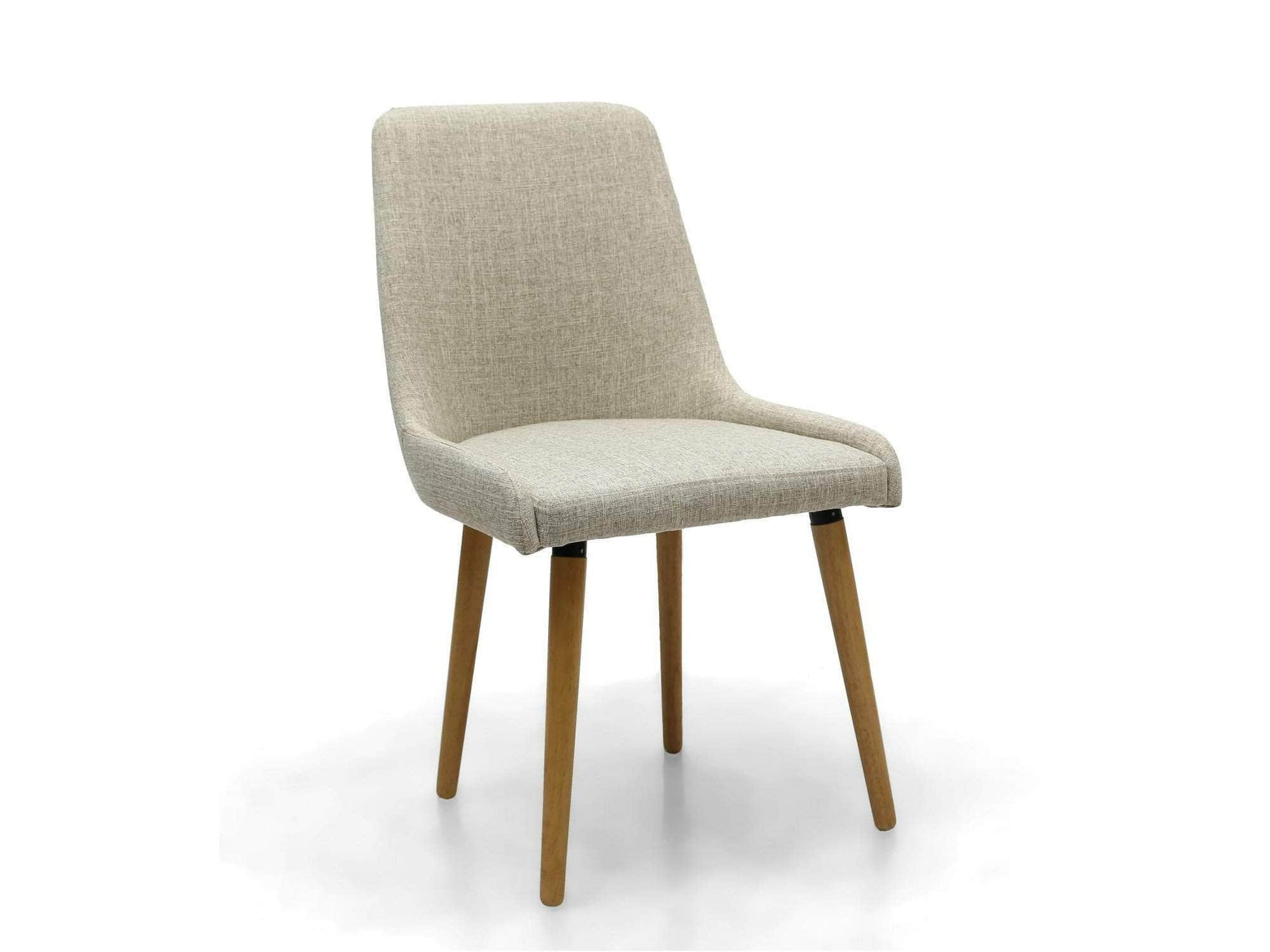 Scandi linen-upholstered dining chair with natural rubber wood legs