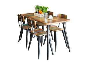 Small, colourful dining table with steel legs