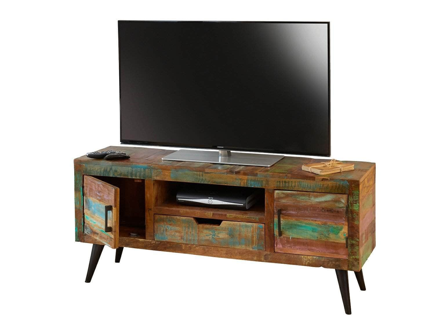 TV stand made from reclaimed Indian boat wood, featuring two small cupboards, a small drawer and a media box shelf