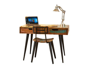 Colourful desk which can also be used as a dressing table, with two drawers and strong, steel legs