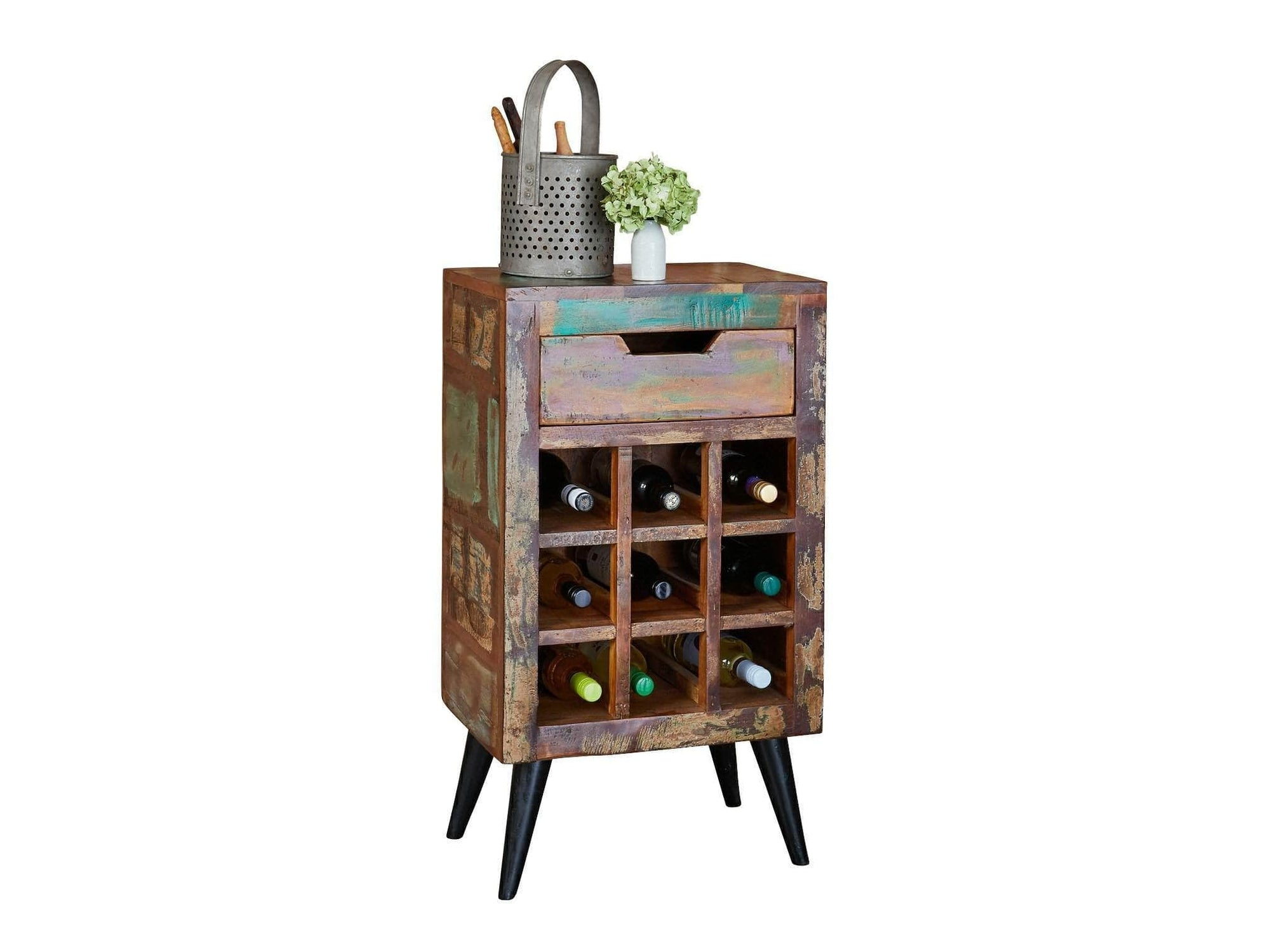 Wine rack from the Chamba range, made from colourful reclaimed wood, with capacity for nine wine bottles