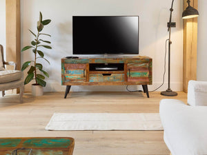 Chamba Indian Reclaimed Boat Wood TV Unit