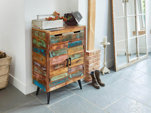 Chamba Indian Reclaimed Boat Wood Shoe Cupboard