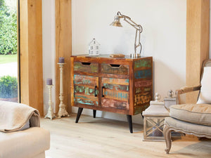 Small Chamba Indian Reclaimed Boat Wood Sideboard