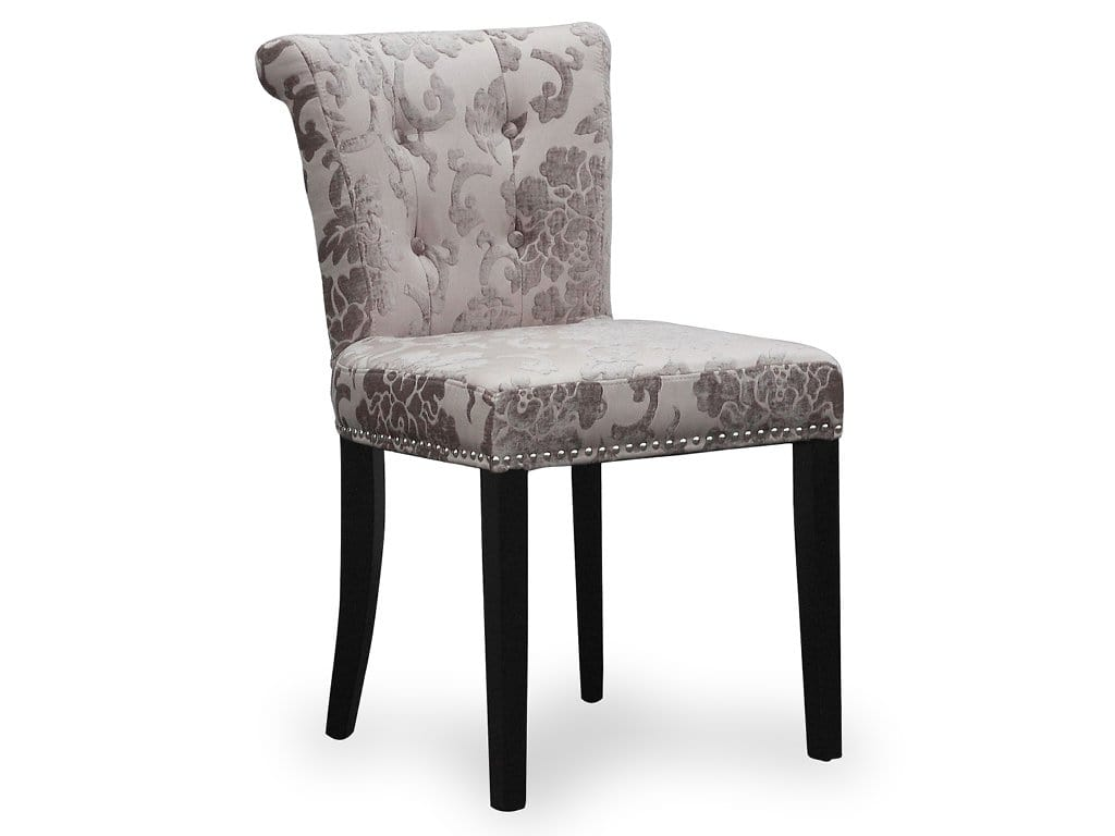Ring back dining chair upholstered in light grey floral velvet, with dark legs