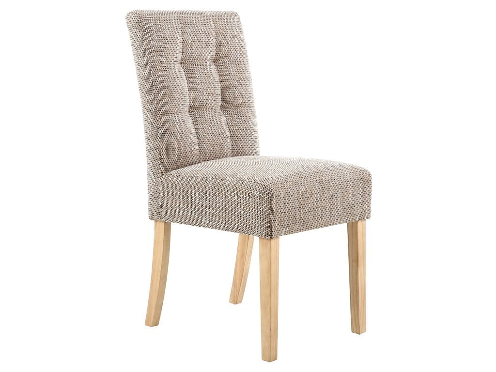 Fairfield tweed fabric dining chairs with padded seats and strong oak legs