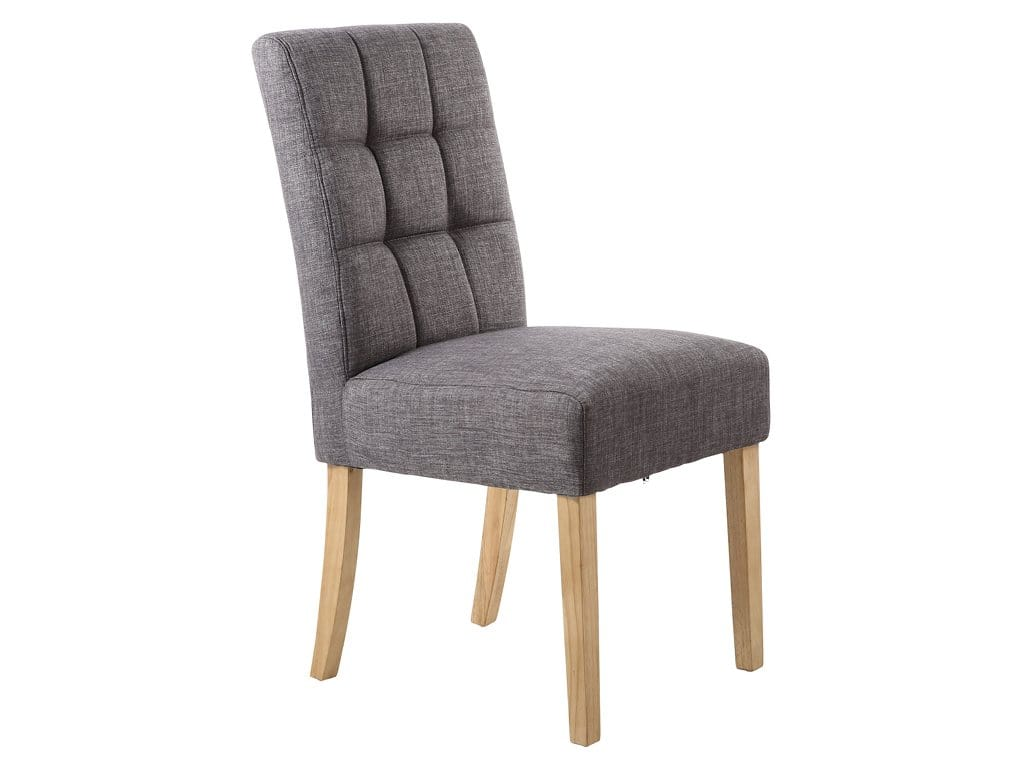 Fairfield dark grey linen dining chairs with oak coloured legs