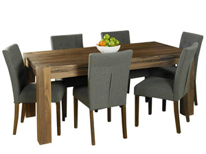 Large walnut dining set, for up to six people