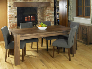 Extra large solid walnut dining table side view