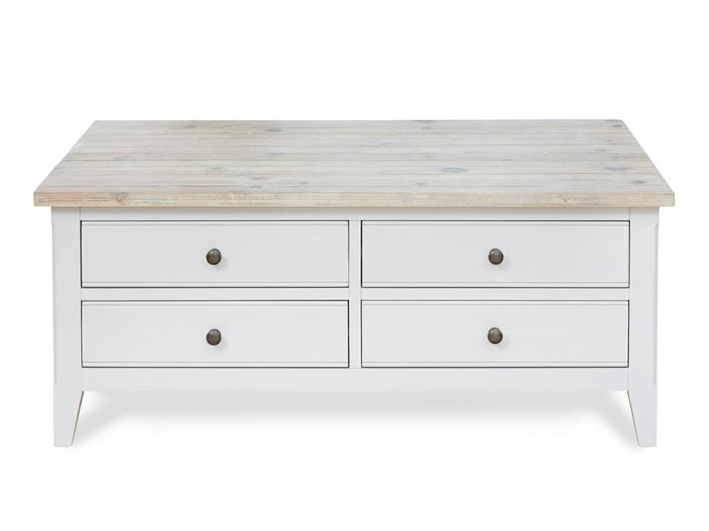 Grey painted coffee table with four drawers and natural, washed table top