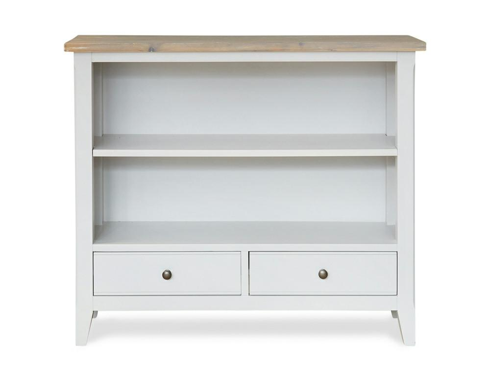 Small bookcase painted in grey, with two shelves and two drawers