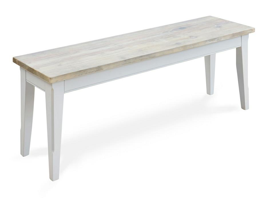 Dining bench with grey painted base and washed seat. Choice of small or large sizes.