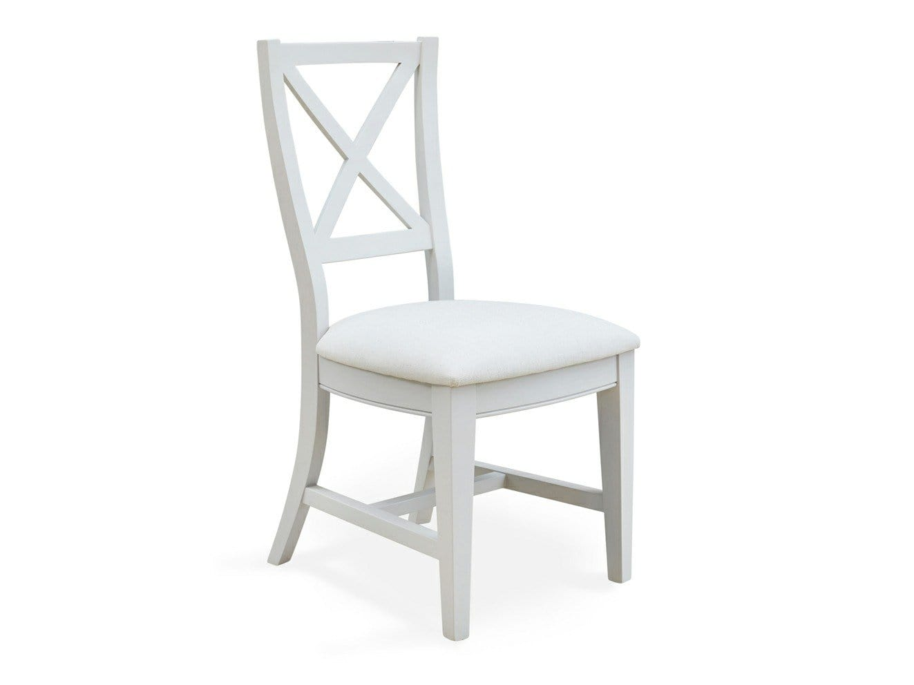 Grey painted dining chairs with solid wood frame and comfortable, cushioned seat pads.