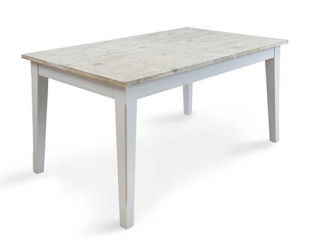 Large extending dining table, painted in grey with natural, washed style top.