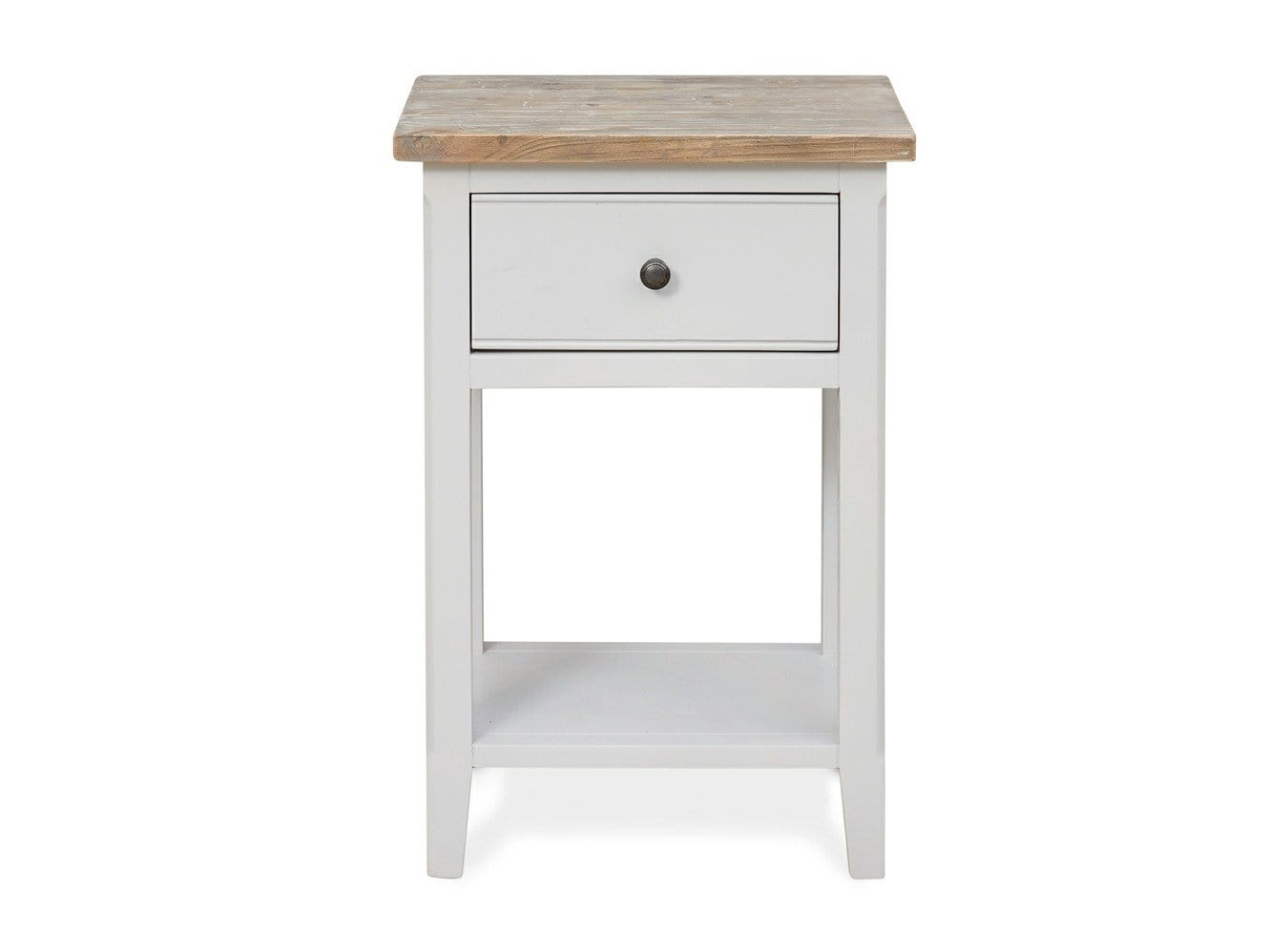 Grey side table with one small drawer and natural look washed top surface