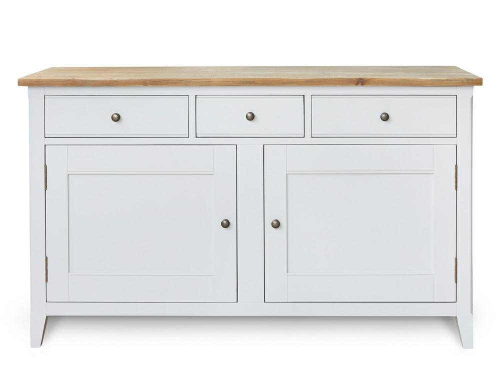 Large grey painted sideboard. Three top drawers and generous cupboard area, with middle shelf.