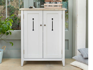Farmhouse Grey Painted Shoe Cabinet