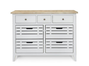 Living room or dining area storage unit with three drawers and cupboard area, painted in grey