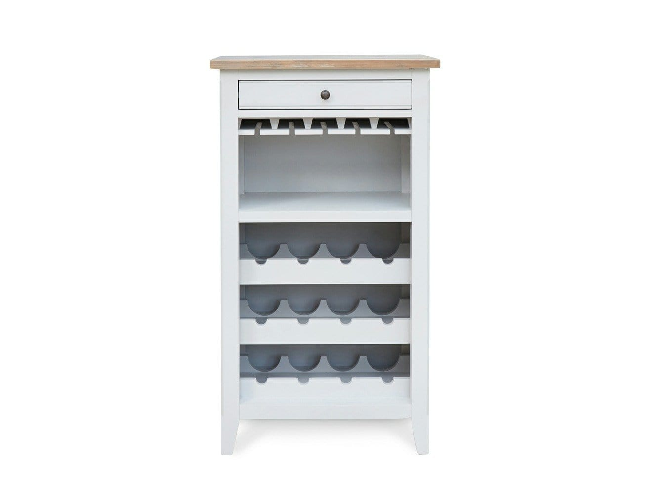 Wine rack painted in grey, with capacity for twelve bottles