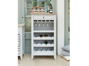 Grey wine rack with glass storage