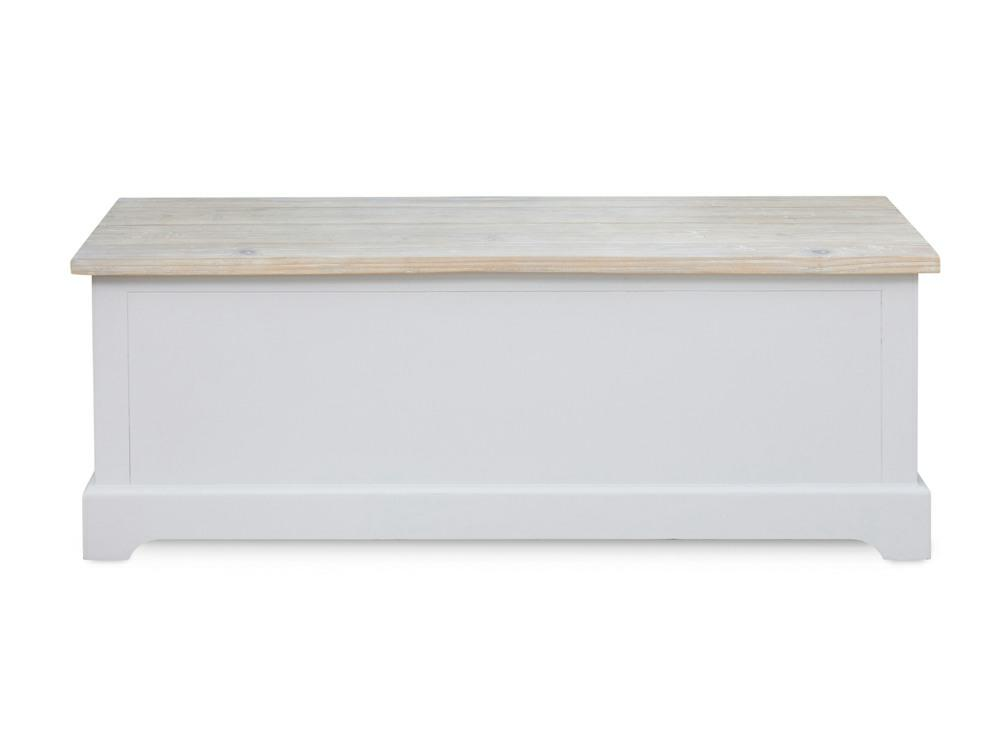 Grey painted storage bench with natural style washed lid