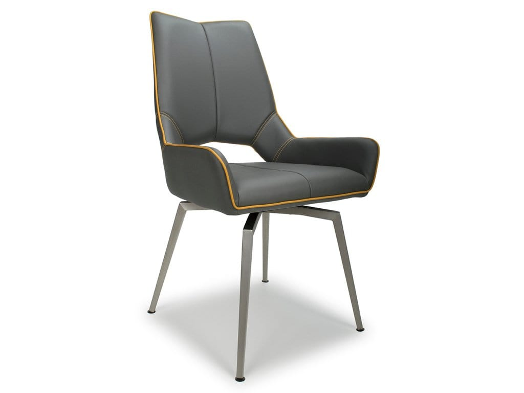 Charlton contemporary grey leather dining chairs with comfortable swivel seats