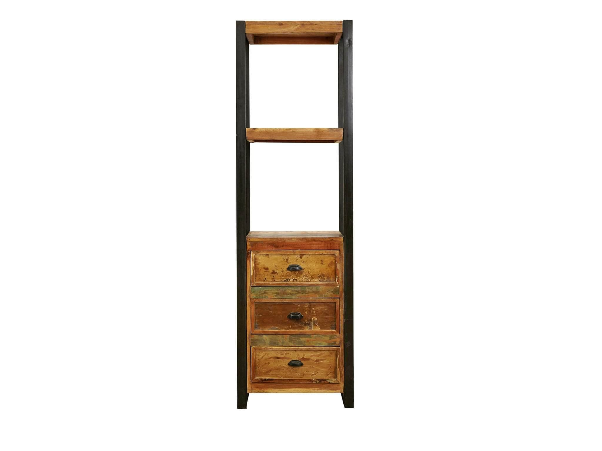 Small Reclaimed Wood Bookcase With Drawers