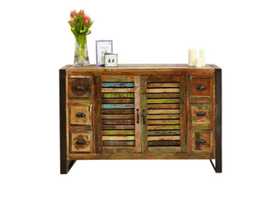 Medium sized reclaimed wood sideboard with six small drawers and central cupboard