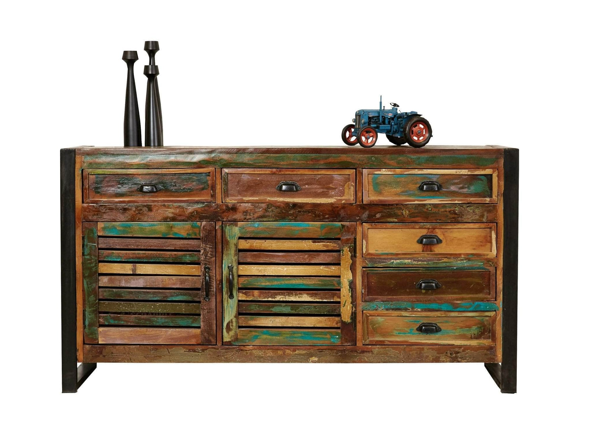 Large, colourful reclaimed wood sideboard with six drawers and storage cupboard