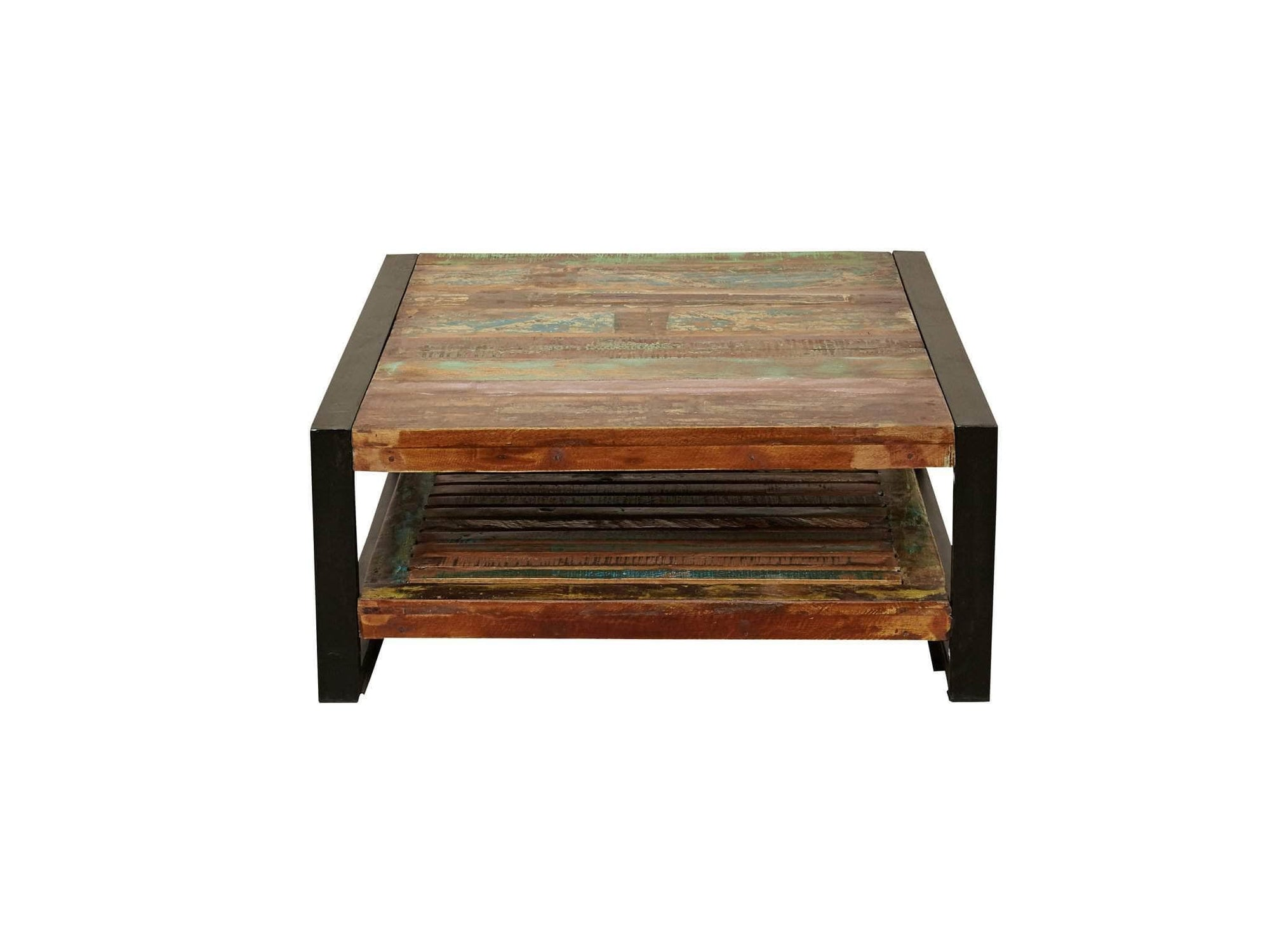 Square shaped reclaimed wood coffee table with under shelf