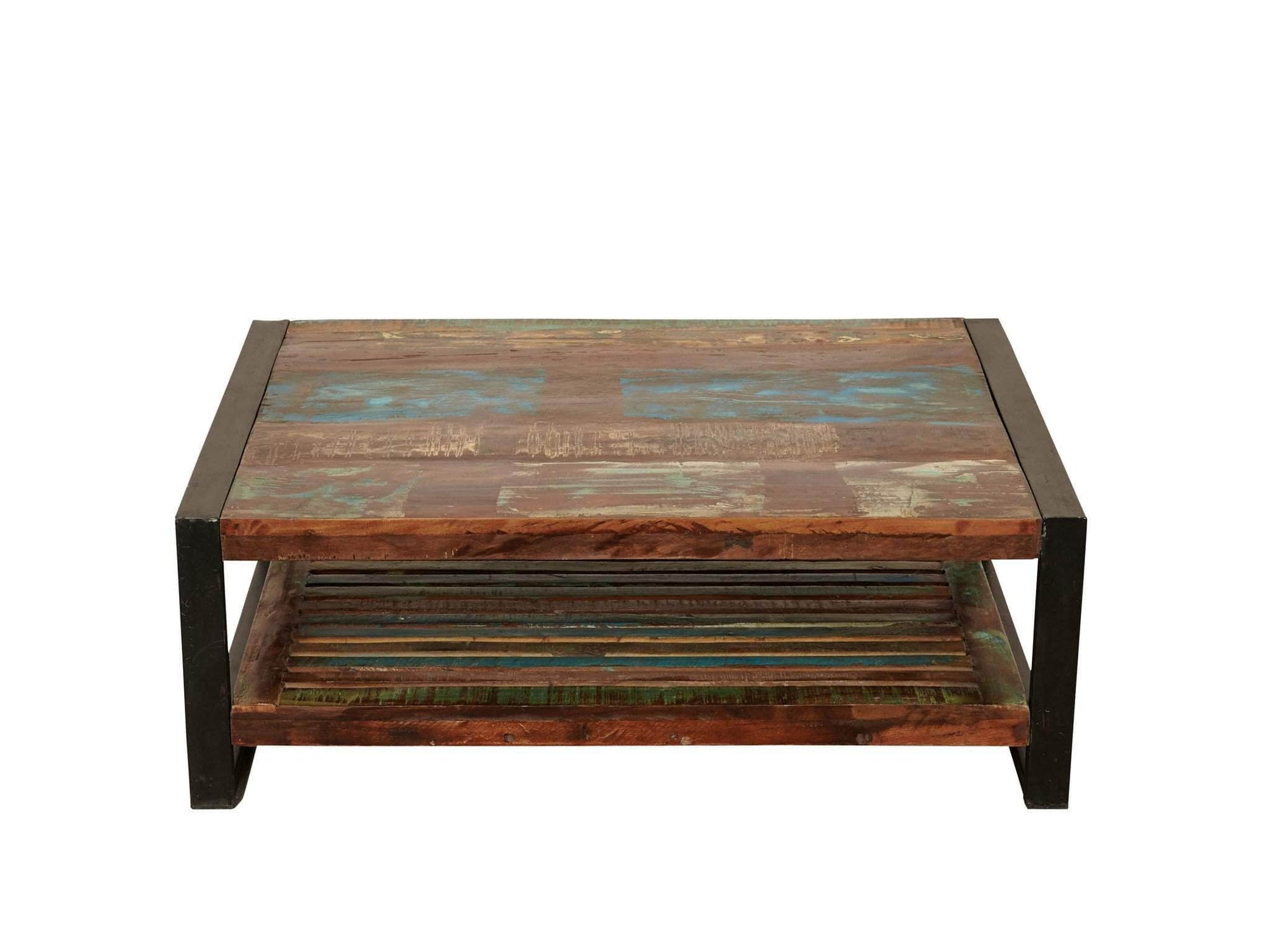 Rectangular reclaimed wood coffee table with sturdy under shelf