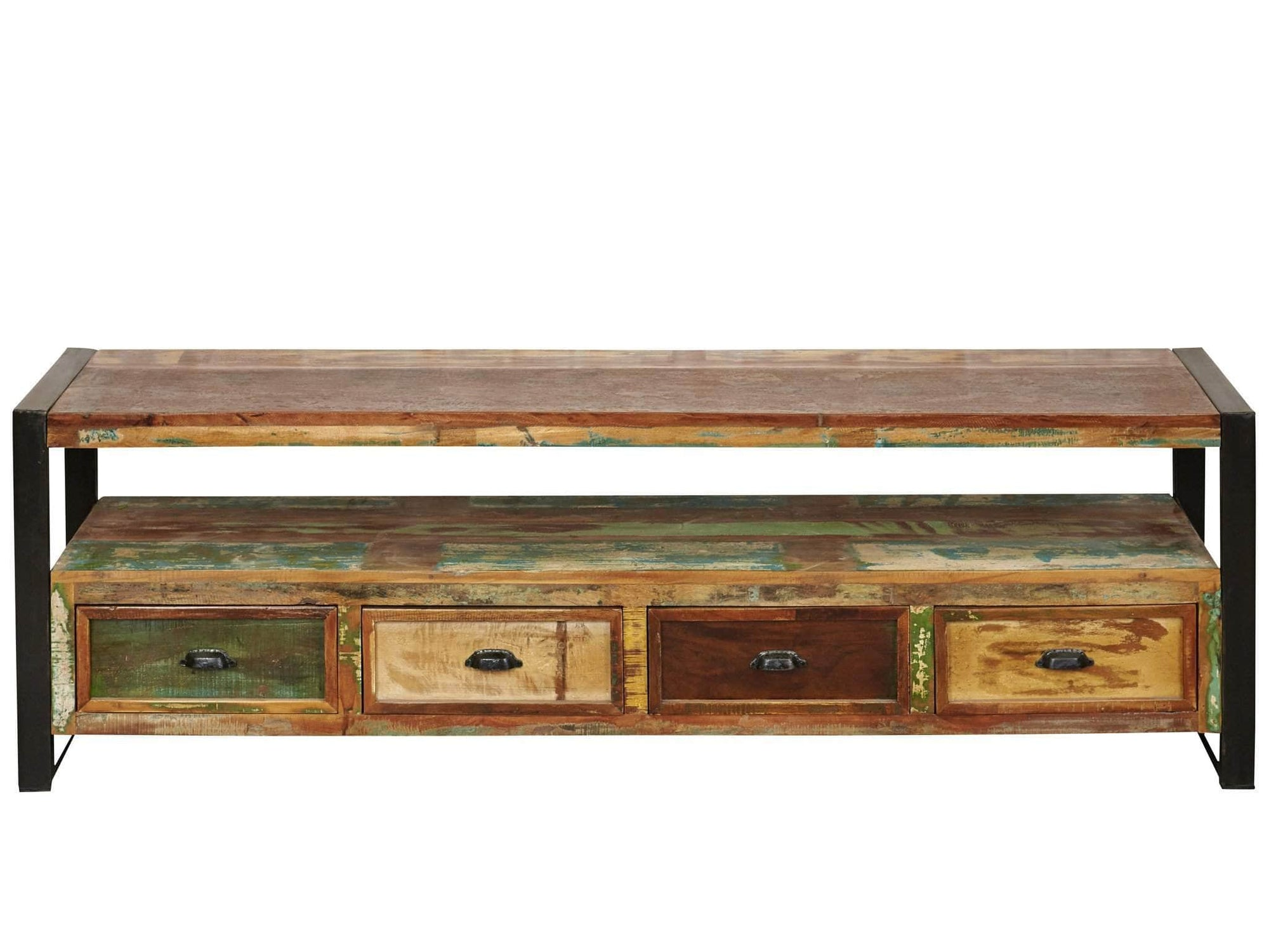 Large reclaimed wood TV stand with four drawers and under shelf for media boxes