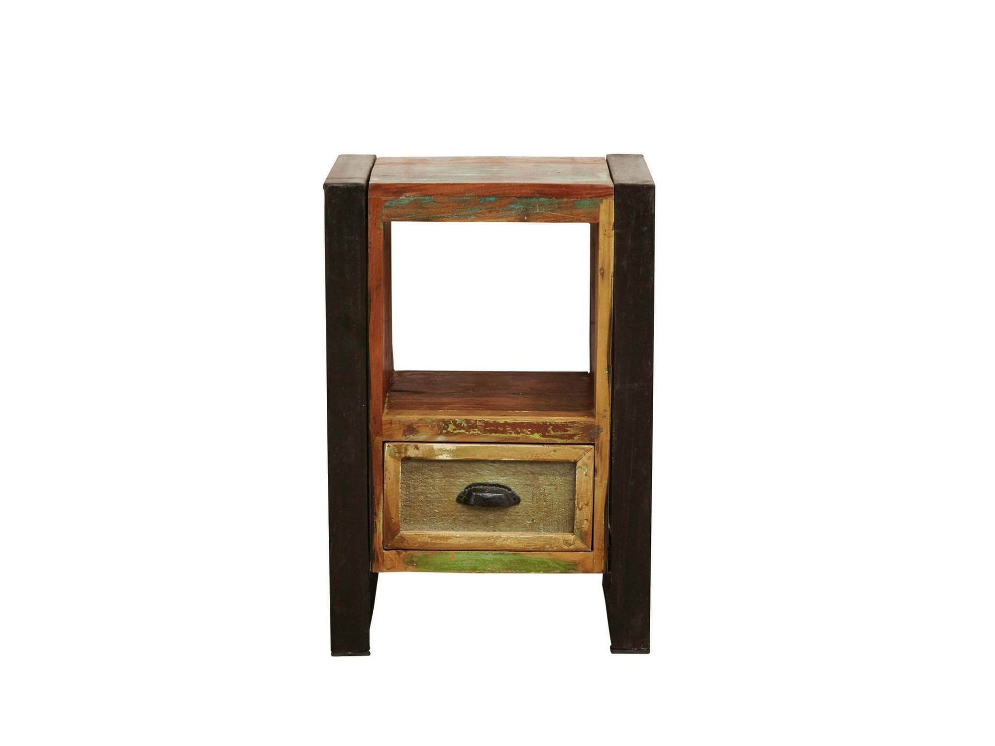 Reclaimed wood table for lamps or bedside items, with one small drawer at bottom of unit