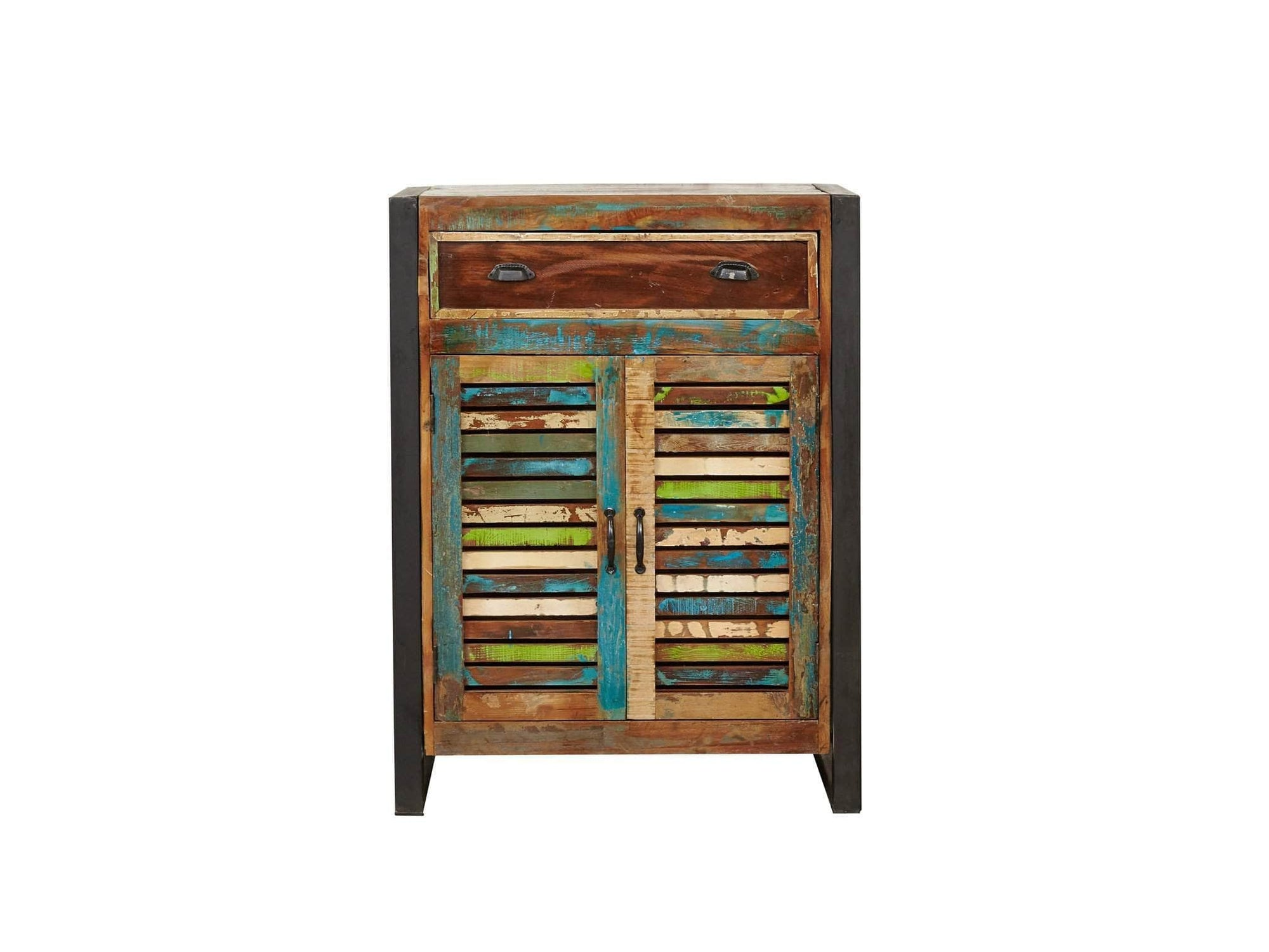 Reclaimed wood shoe storage cabinet with large top drawer and double doors