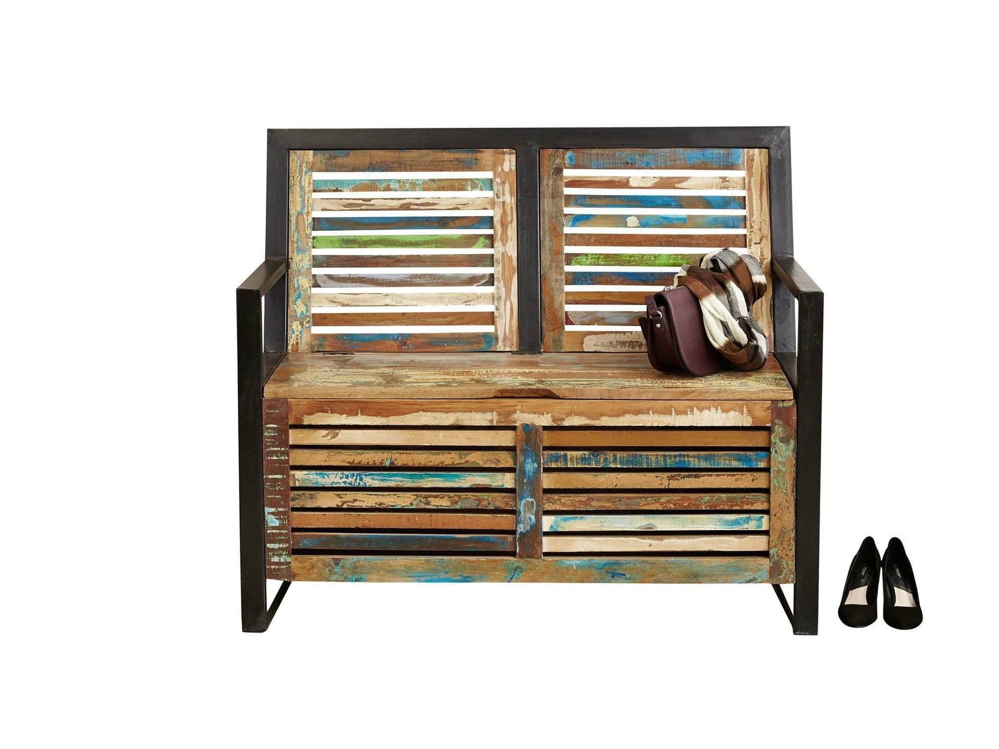 Asia range reclaimed wood monk's bench with hidden storage