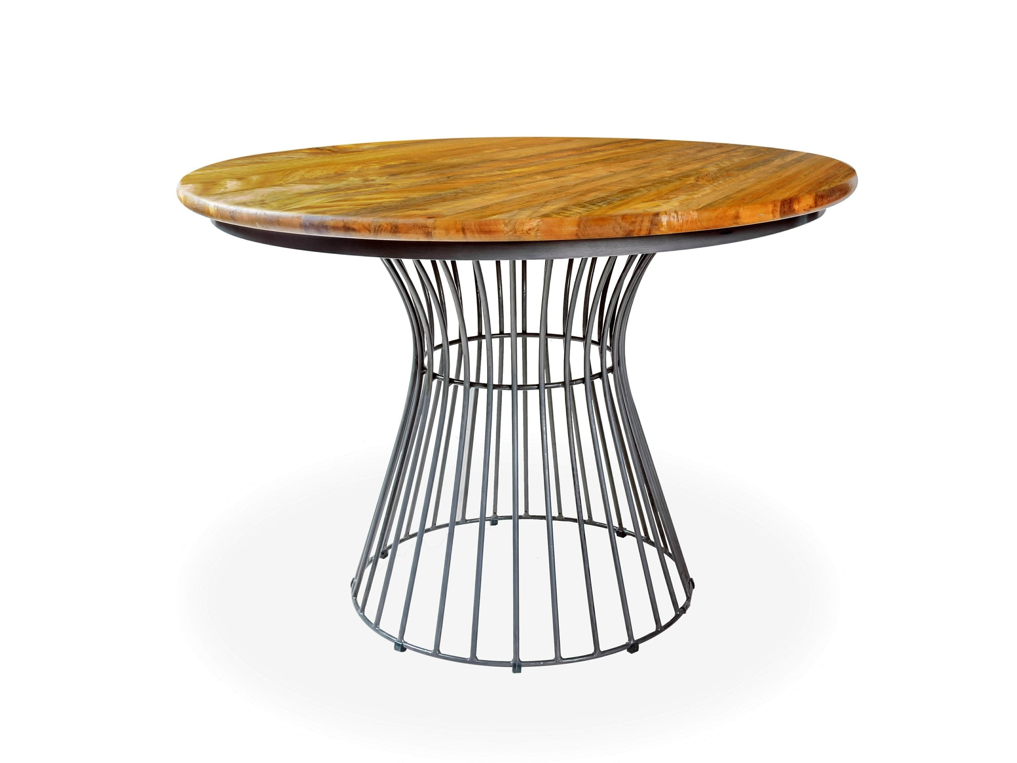 Round, cafe style bistro table with mango wood top and circular, steel base