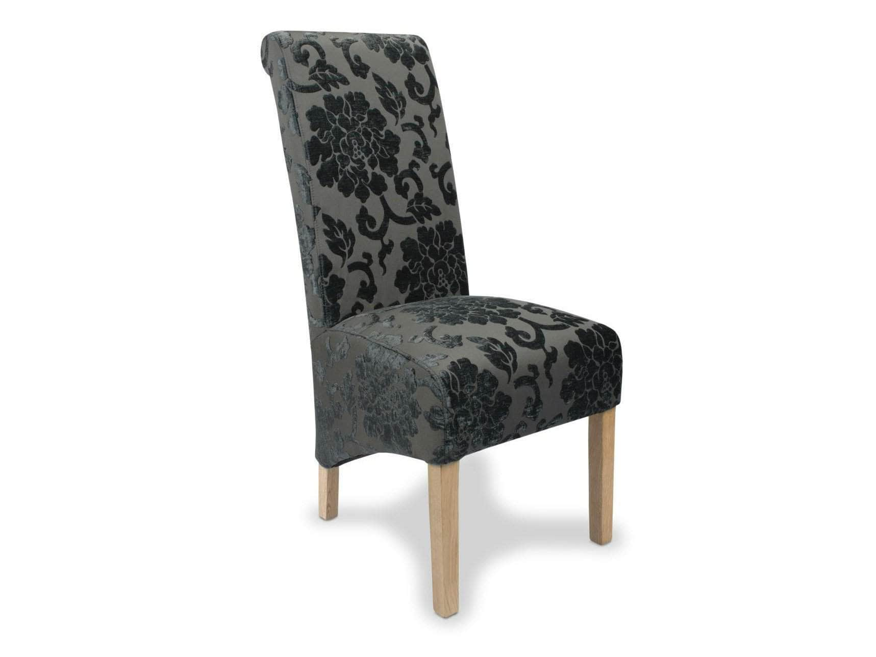 Eltham high back dining chairs with charcoal grey floral-patterned upholstery