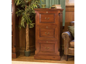 Laddingford Solid Wood Mahogany Three Drawer Filing Cabinet