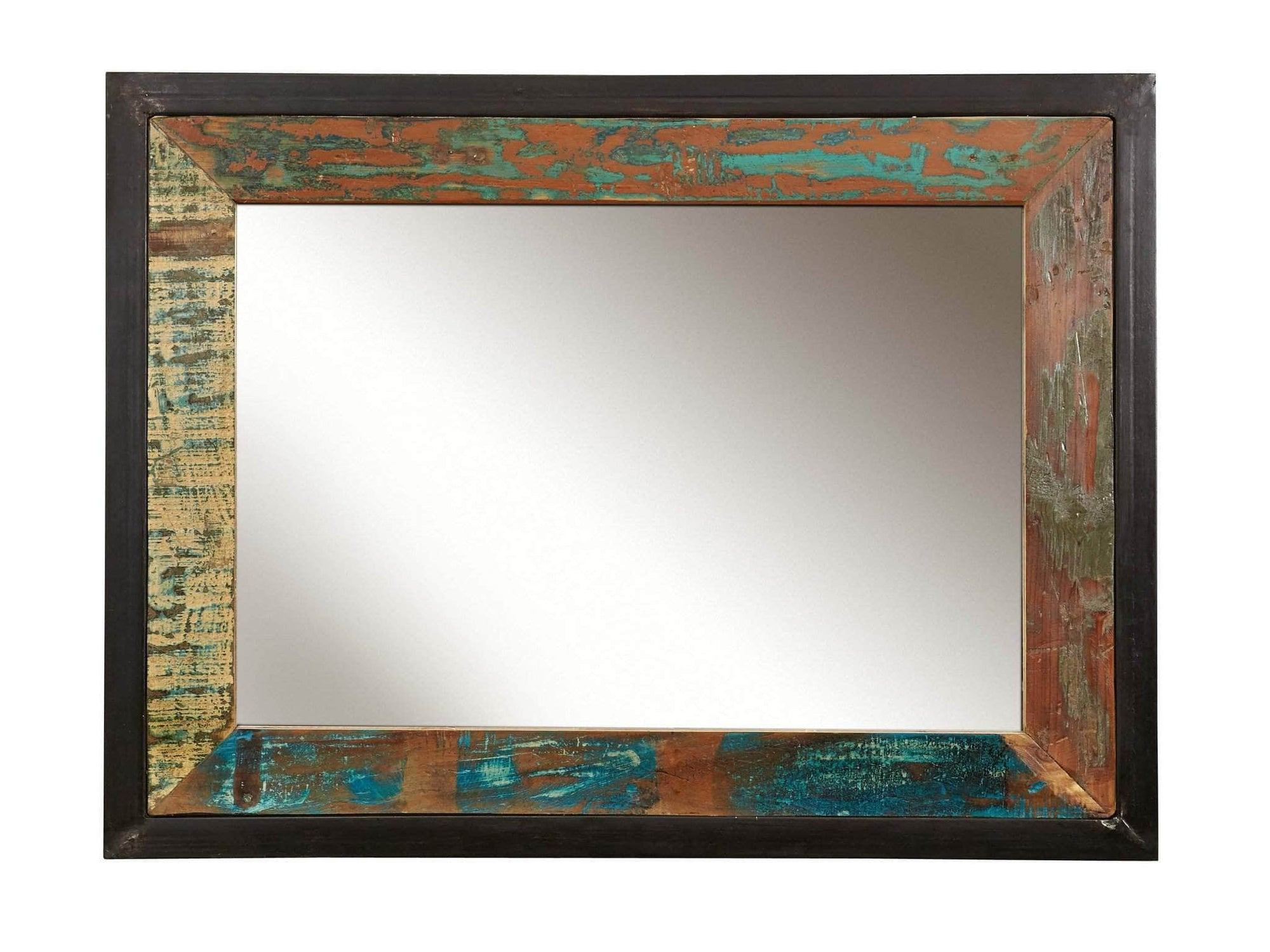 Large reclaimed wood mirror with colourful frame