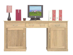 Large oak desk for home office, with printer cupboard, two drawers, plus storage compartments