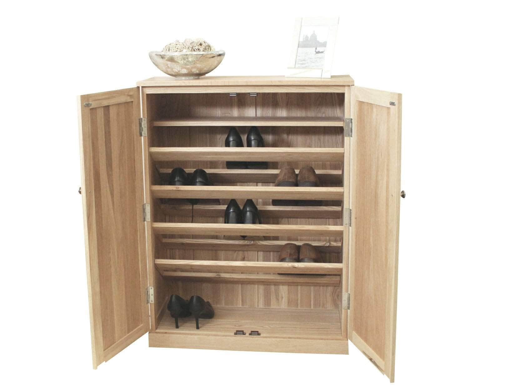 Obell large solid oak shoe storage cabinet