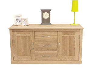 Large sideboard made from solid oak, featuring three drawers and two storage cupboards