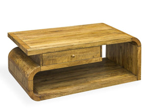 Contemporary Curved Mango Wood Coffee Table