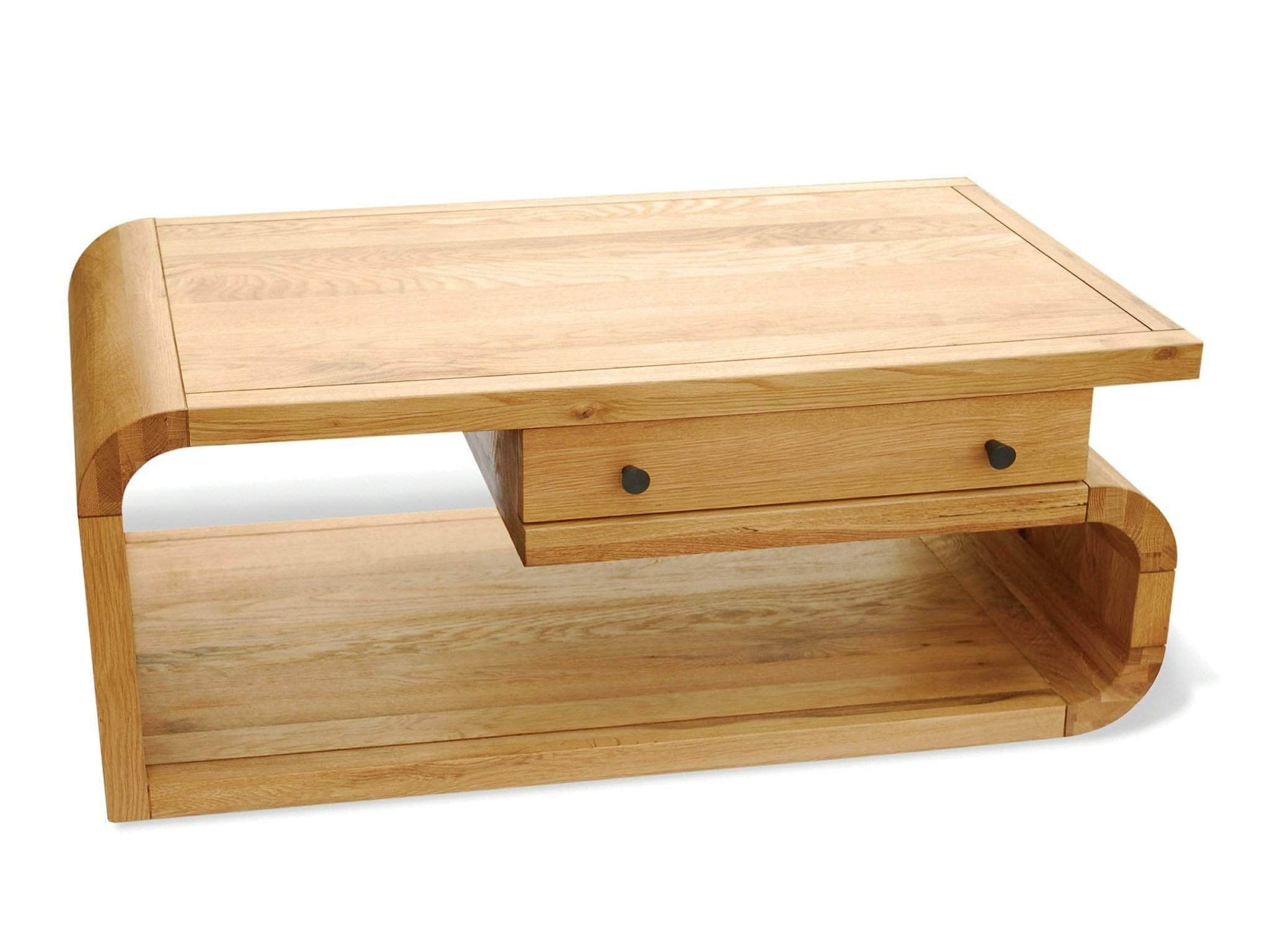 Lichfield designer style curved oak coffee table with drawer
