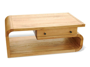 Lichfield designer style solid oak coffee table with drawer