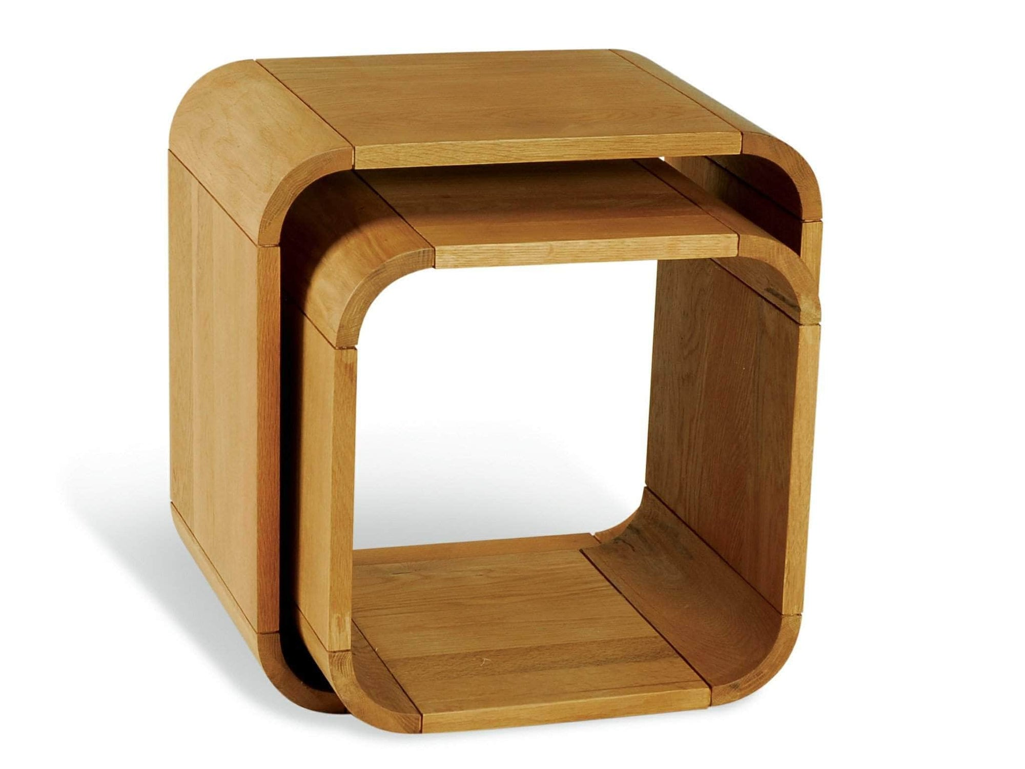 Contemporary nest of tables made from oak, in cube shapes. Set of two.