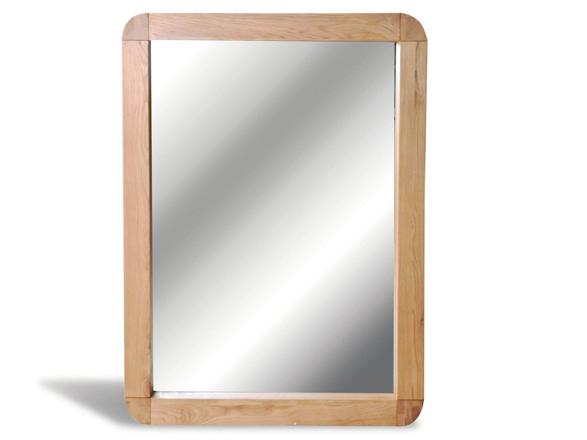 Contemporary solid oak mirror with rounded corners
