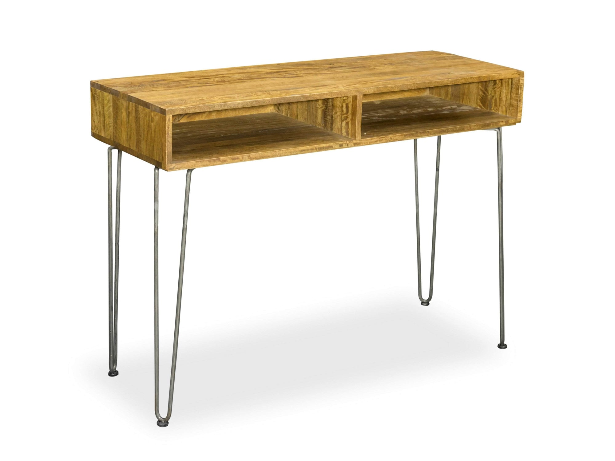 Hallway console table with two compartments for storage, supported by hairpin legs
