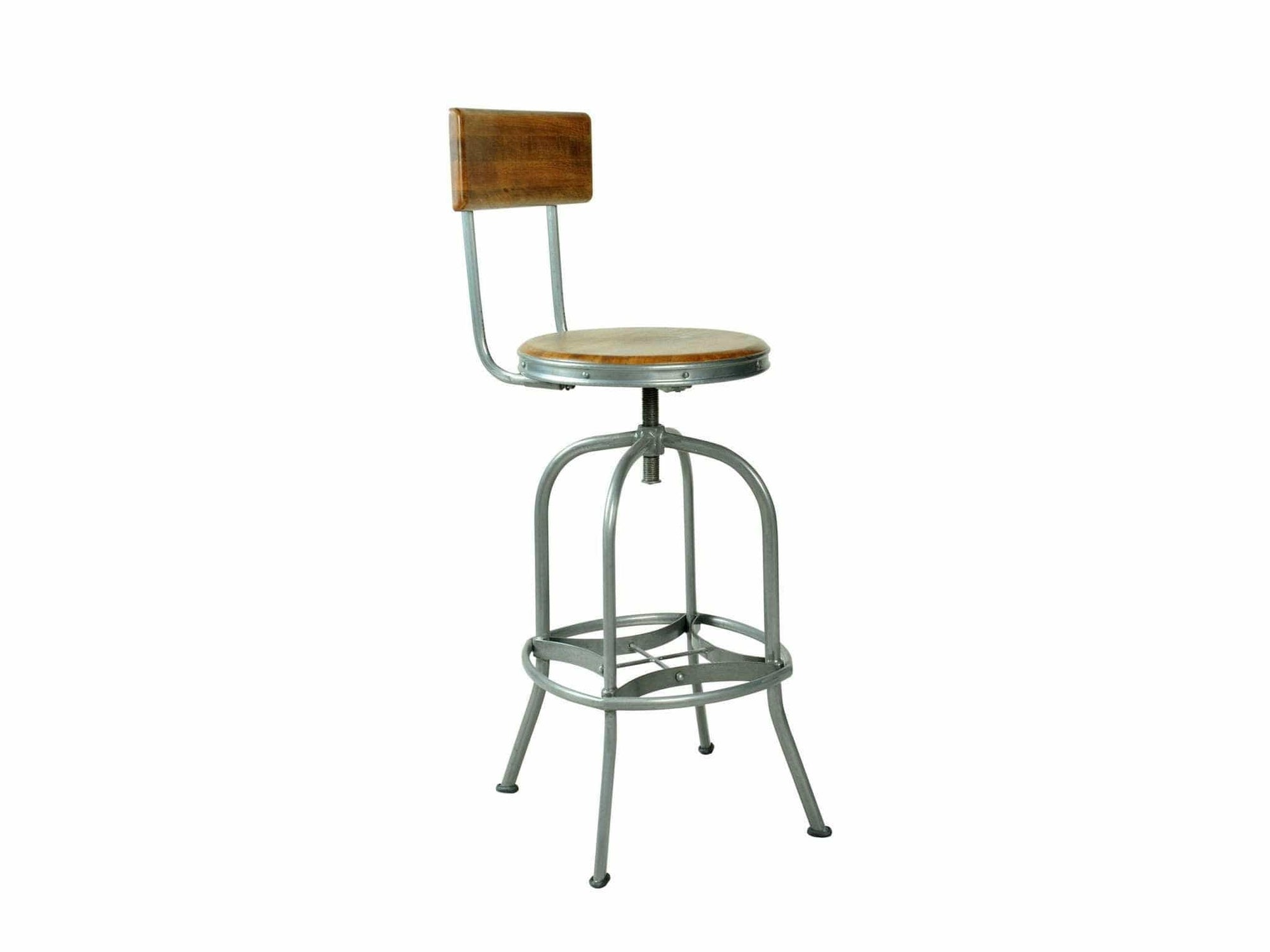 Industrial style bar stool with adjustable seat height and steel base